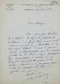 Carta manuscrita de Carles Camproux a Bernard Lesfargues