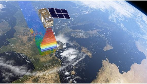 Representació de com el satèl·lit 'Copernicus' capta imatges de la Terra. En l'Observació de la Terra les dades s'obtenen tant d'imatges de satèl·lit com de mesures in situ, preses directament sobre el terreny. Autor: Agència Espacial Europea