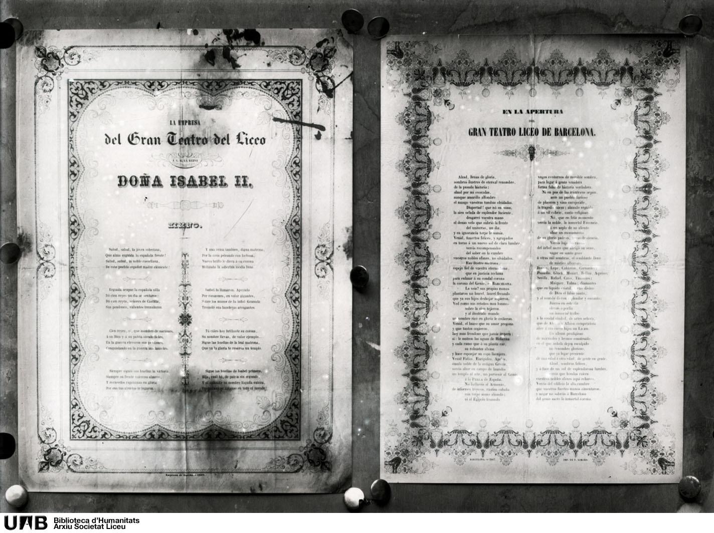 Himnes en honor d'Isabel II i de l'obertura del Teatre