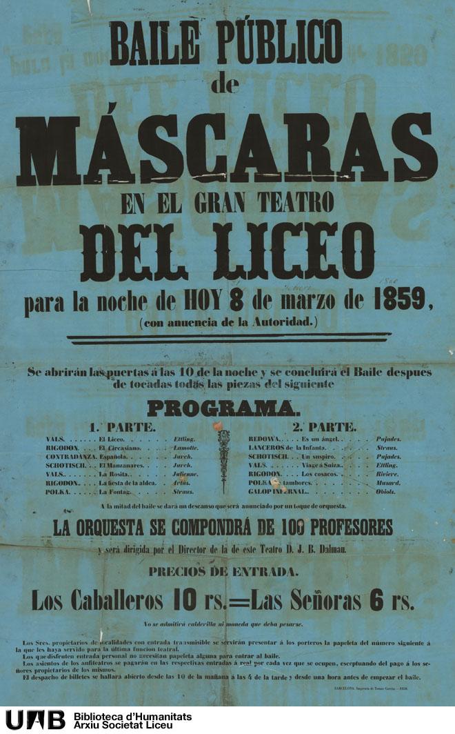 Baile público de máscaras en el Gran Teatro del Liceo para la noche de hoy 8 de marzo de 1859