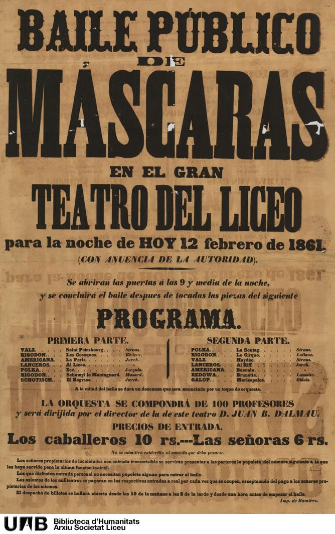 Baile público de máscaras en el Gran Teatro del Liceo para la noche de hoy 12 de febrero de 1861 (con anuencia de la autoridad)
