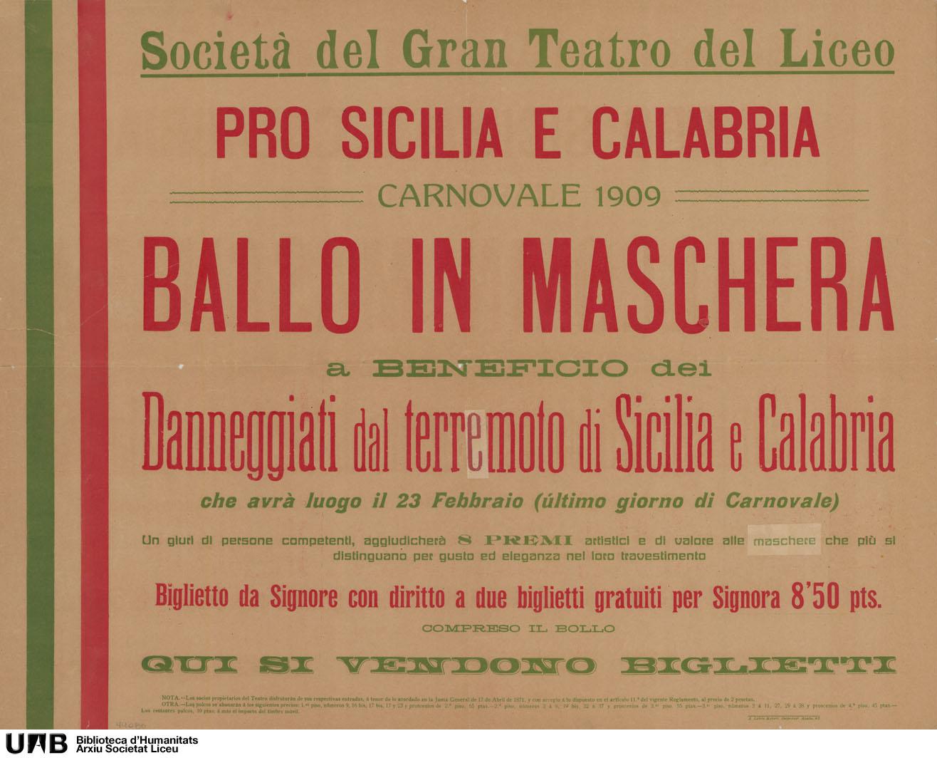 Pro Sicilia e Calabria. Carnovale 1909. Ballo in maschera a beneficio dei danneggiati dal terremoto di Sicilia e Calabria
