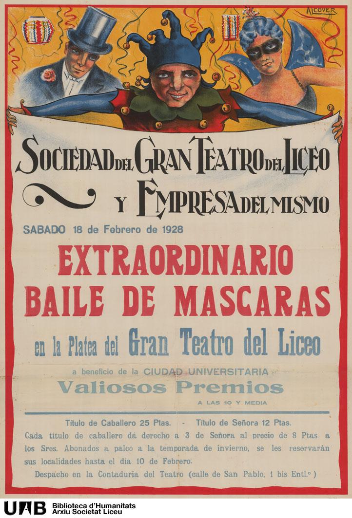 Extraordinario baile de máscaras en la platea del Gran Teatro del Liceo, a beneficio de la ciudad universitaria
