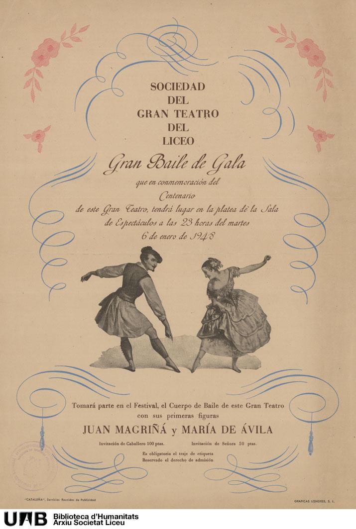 Gran baile de gala que en conmemoración del centenario de este gran teatro tendrá lugar en la platea de la sala de espectáculos a las 23 horas del martes 6 de enero de 1948