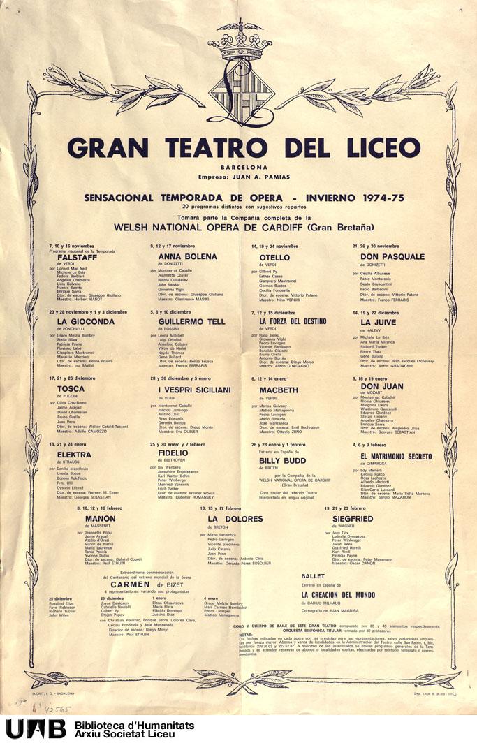Gran teatro del Liceo, sensacional temporada de ópera invierno 1974-75