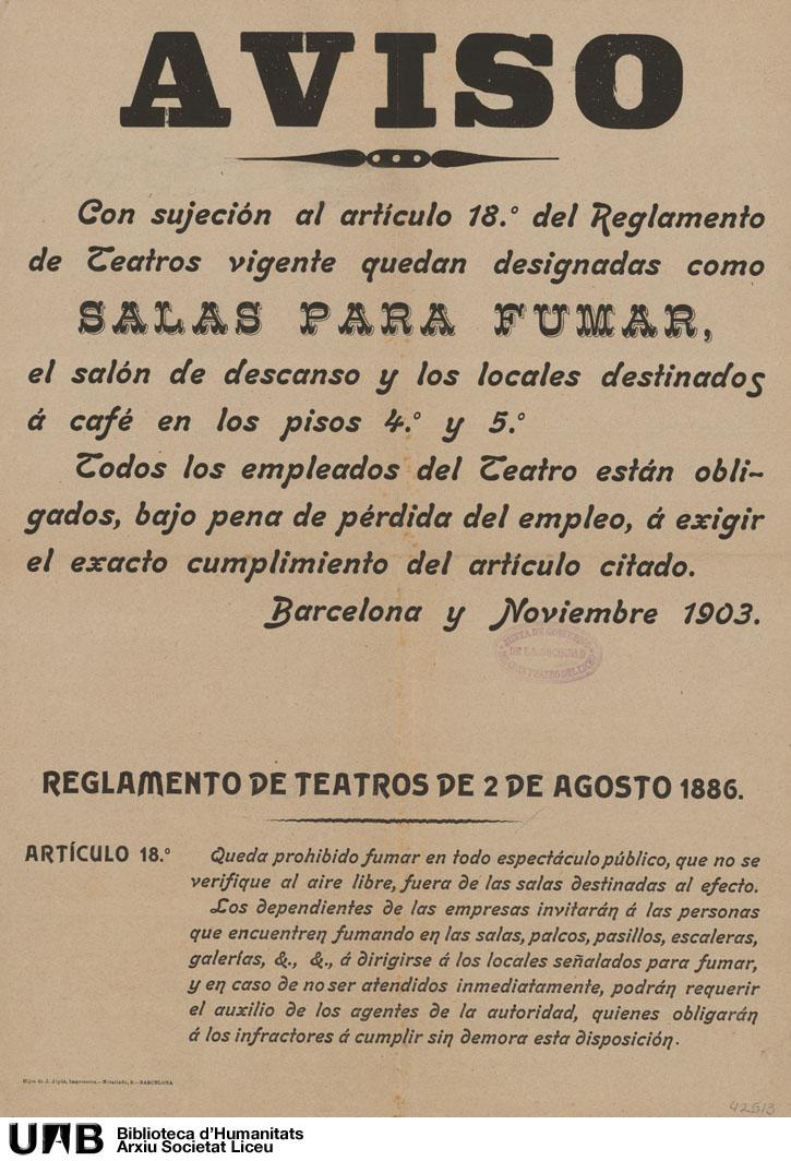 Aviso con sujeción al artículo 18º del reglamento de teatros vigente quedan designadas como salas para fumar …