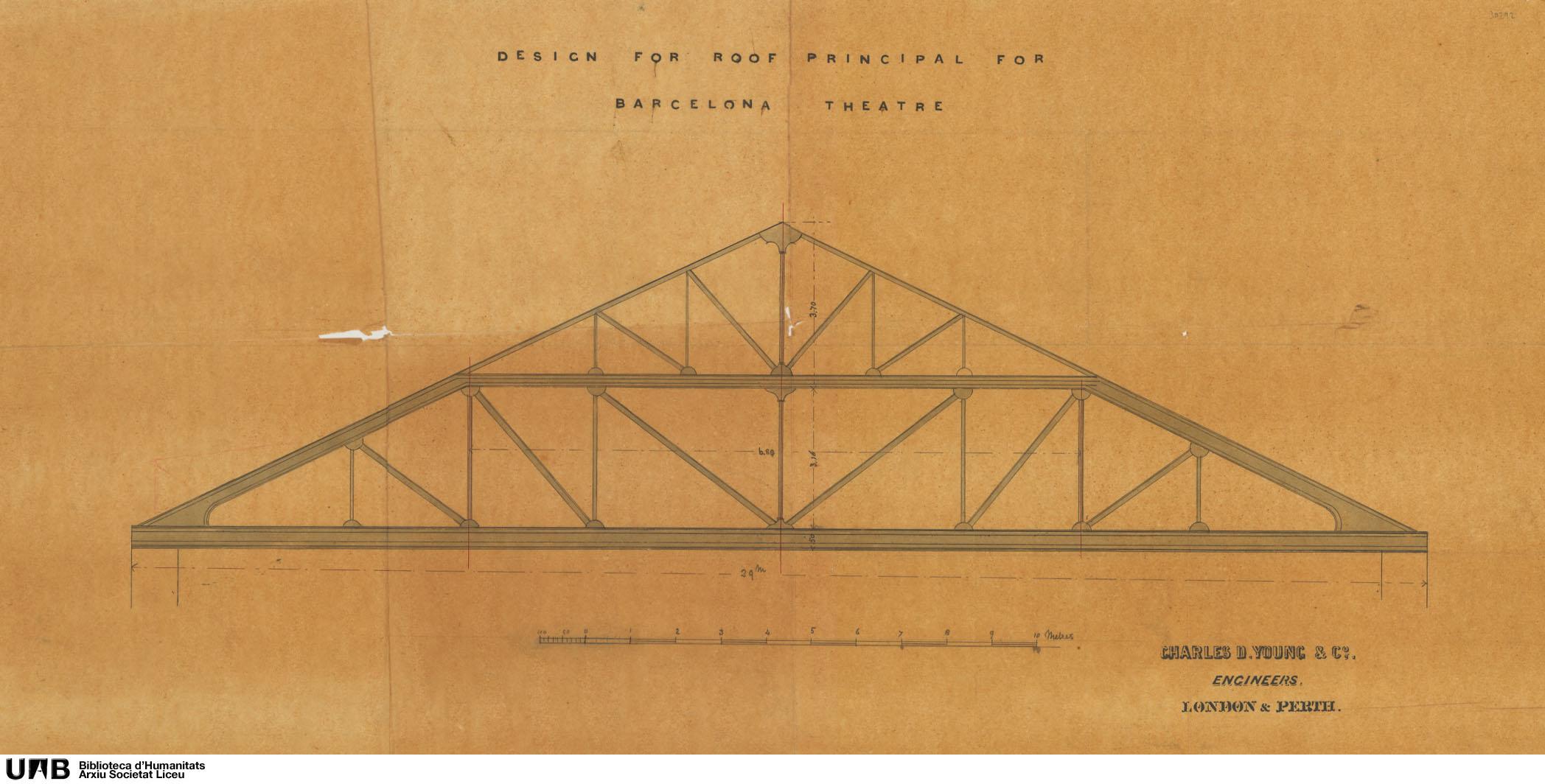 Design for roof principal for Barcelona Theatre : Alzado de cercha de cubierta