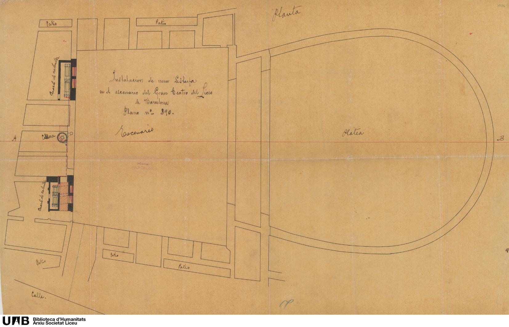 Instalación de una estufa para el escenario del Gran Teatro del Liceo