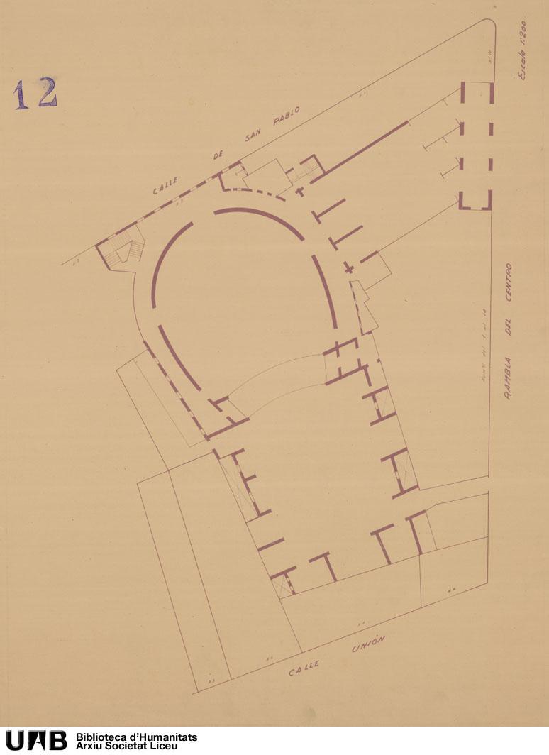 Plano del Teatro y fincas colindantes