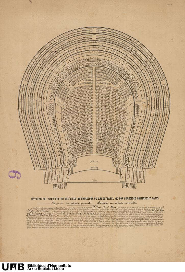 Interior del Gran Teatro del Liceo de Barcelona de S.M. Dª Ysabel II por Francisco Dalmases y Ratés Indicación de las localidades con entrada personal y transmisible