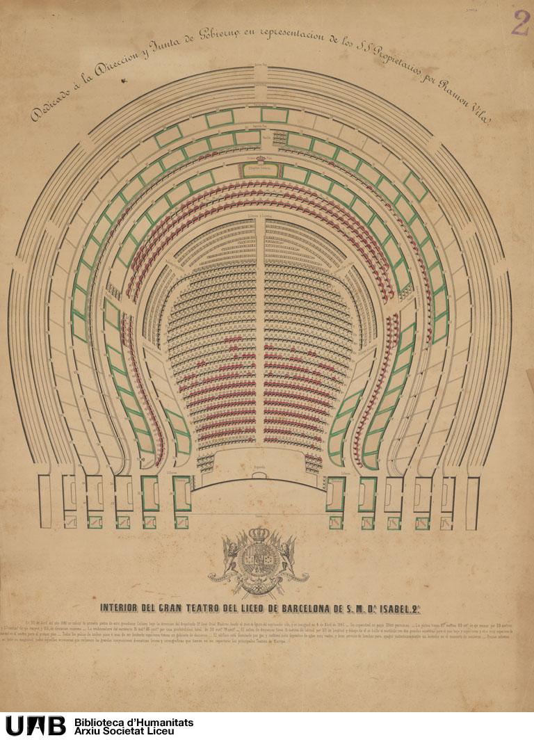 Interior del Gran Teatro del Liceo de Barcelona de S. M. Dª Isabel 2ª , Dedicado a la Dirección y Junta de Gobierno en representación de los S.S. Propietarios por Ramon Vila