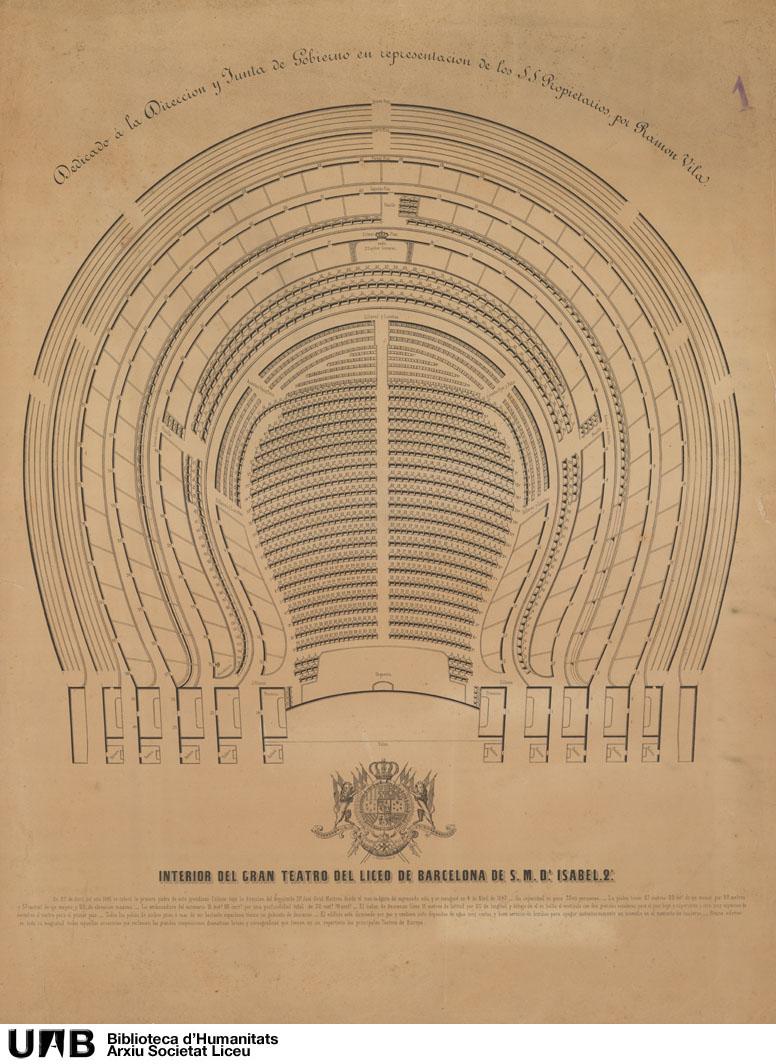 Interior del Gran Teatro del Liceo de Barcelona de S.M. Dª Isabel II , dedicado a la Dirección y Junta de Gobierno en representación de los S.S. Propietarios por Ramon Vila