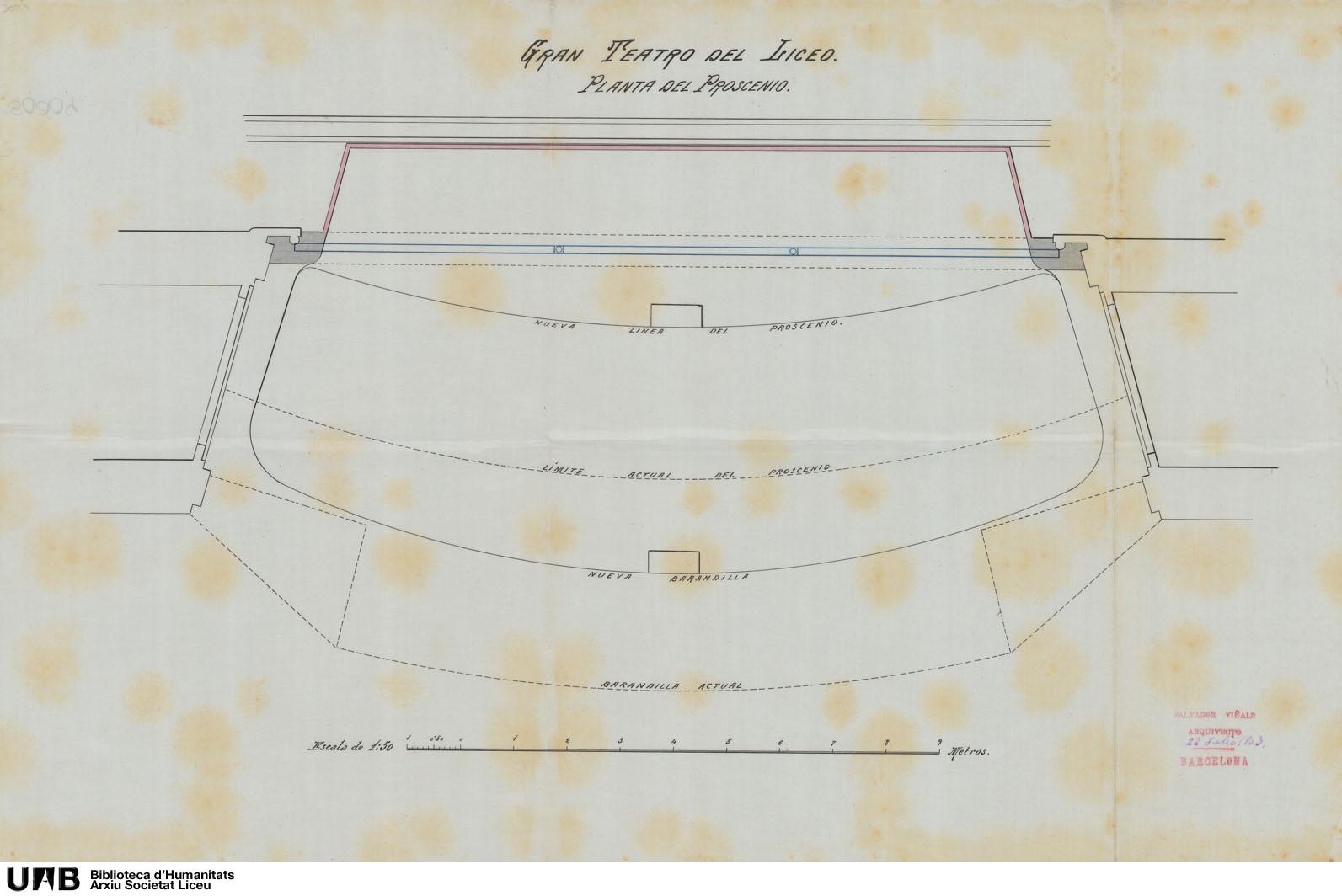 Plano reflejando las modificaciones hechas en el anteproyecto de reforma y ensanche del espacio que ocupa la orquesta