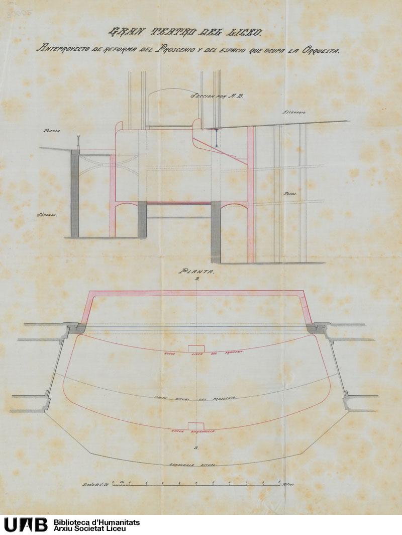 Anteproyecto de reforma del proscenio y del espacio que ocupa la orquesta