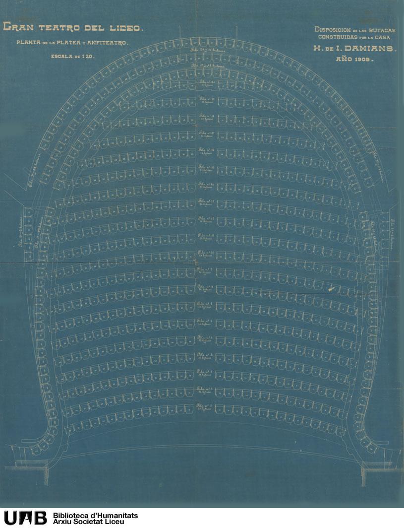 Disposición de las butacas construidas por la casa H. de I. Damians