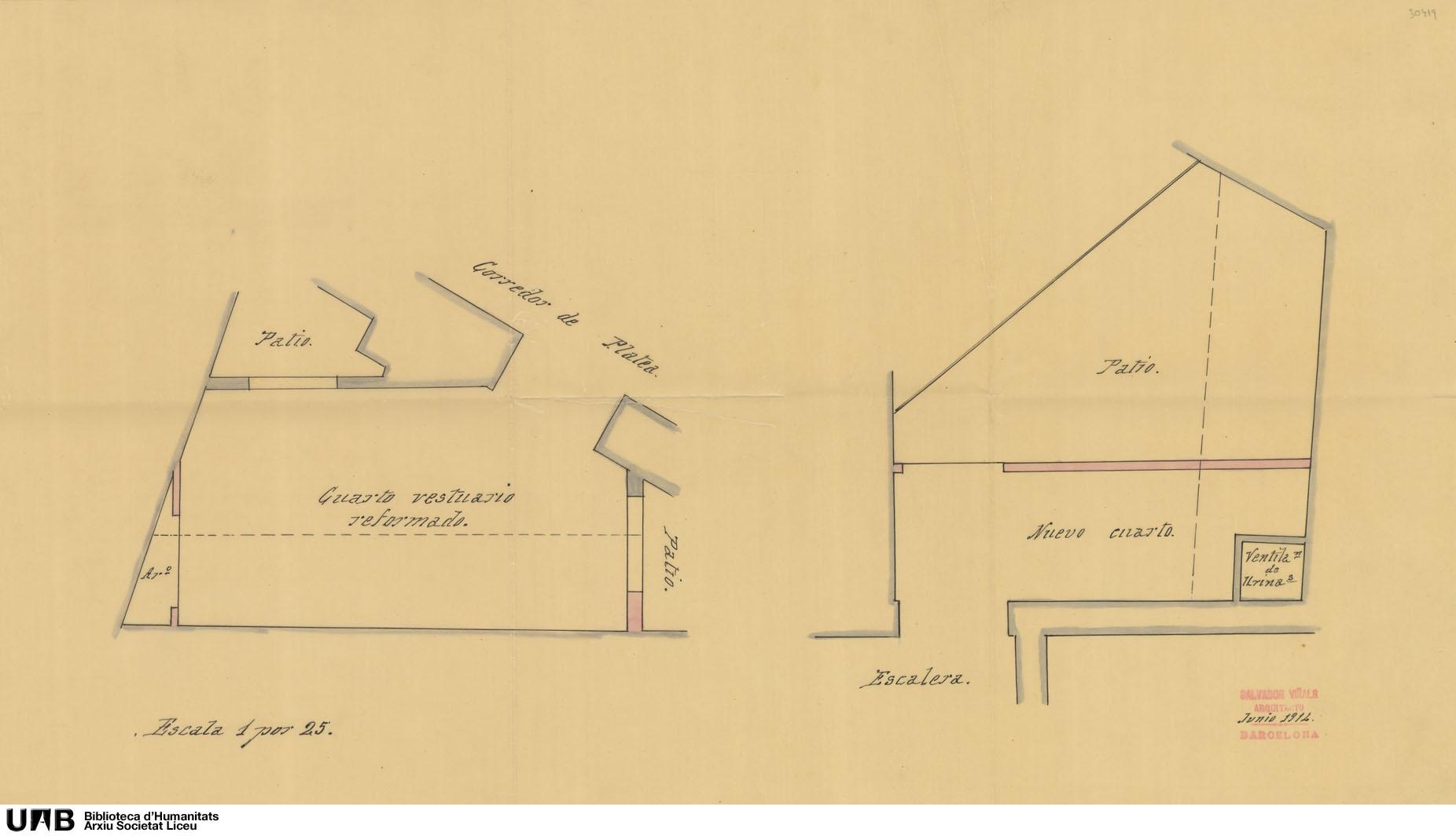 Plànol de reforma del vestuari i nova habitació