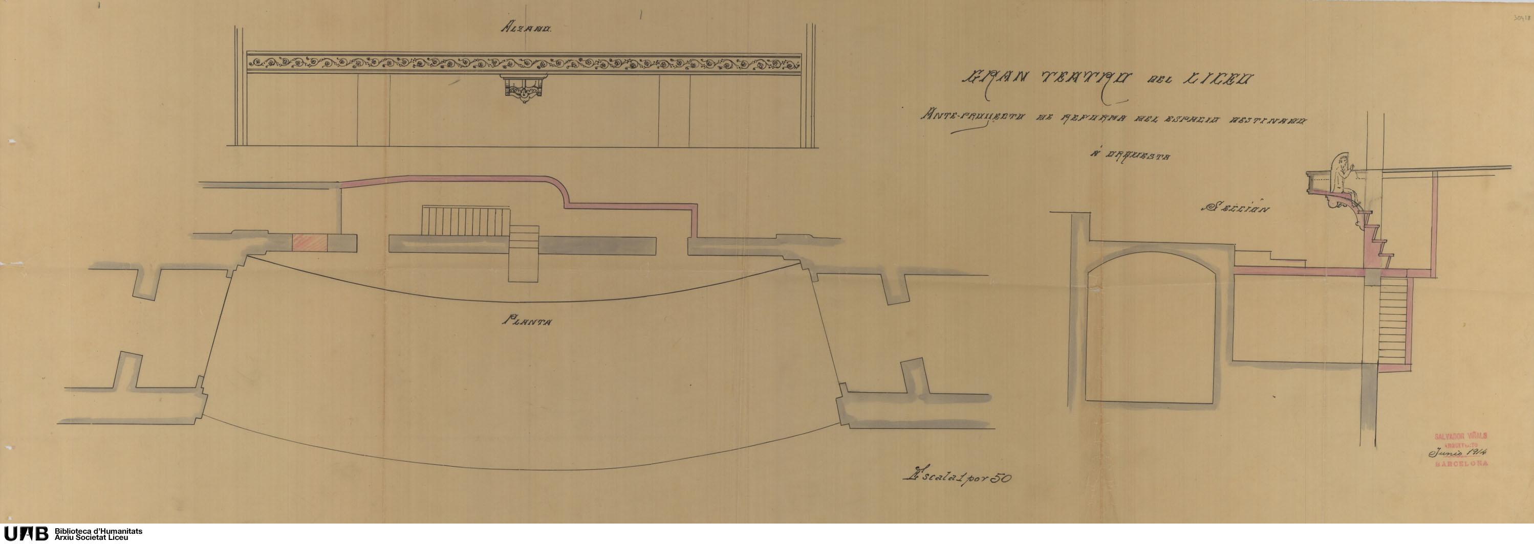 Ante-proyecto de reforma del espacio destinado a orquesta