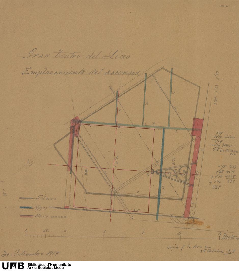Ascensor : Planta, con indicaciones de visita de obra (16 octubre 1915)