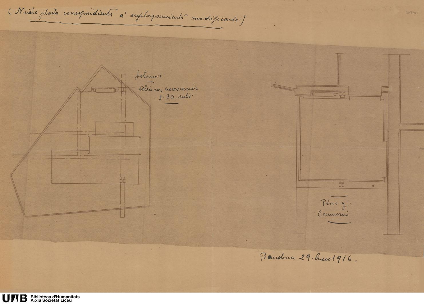Plano de instalación de ascensor : Nuevo plano correspondiente al emplazamiento modificado