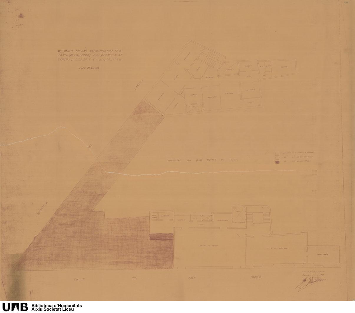 Plano de las propiedades de Francisco Buxeras con relación al Teatro del Liceo y al Conservatorio
