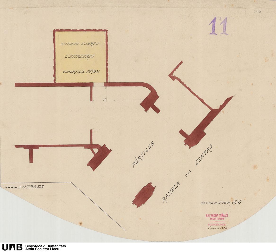 Plano parcial del acceso con situación del antiguo cuarto de contadores