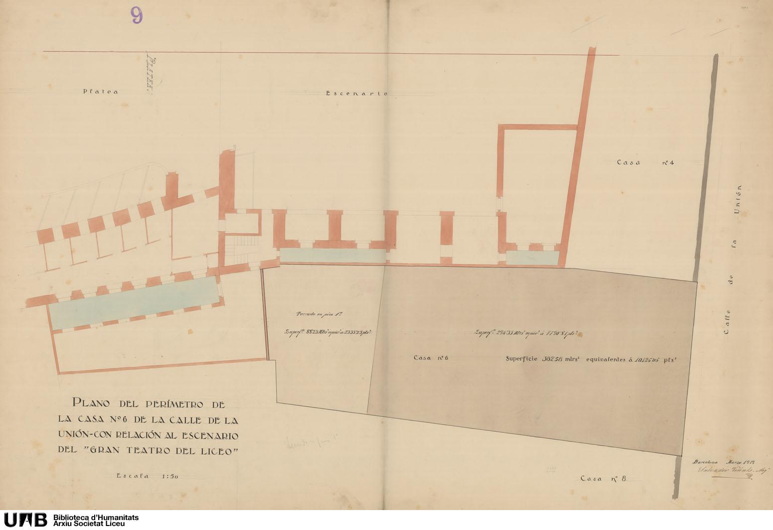 Plano del perímetro de la casa nº 6 de la Calle de la Unión con relación al escenario del Gran Teatro del Liceo