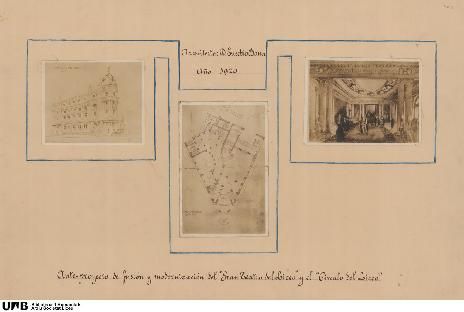 Anteproyecto de fusión y modernización del Gran Teatro del Liceo y el Círculo del Liceo