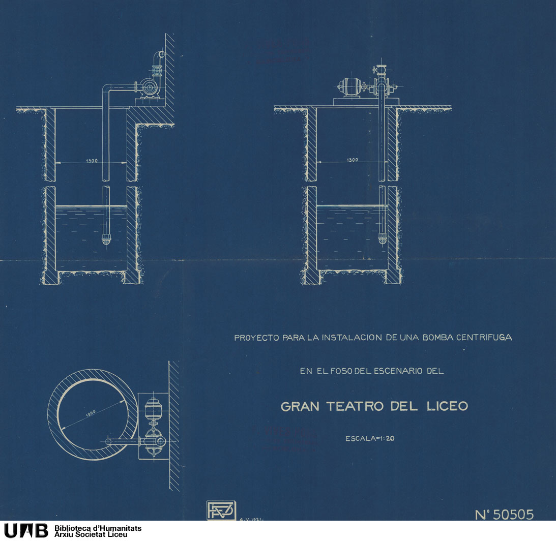 Proyecto para la instalación de una bomba centrífuga en el foso del escenario del Gran Teatro del Liceo