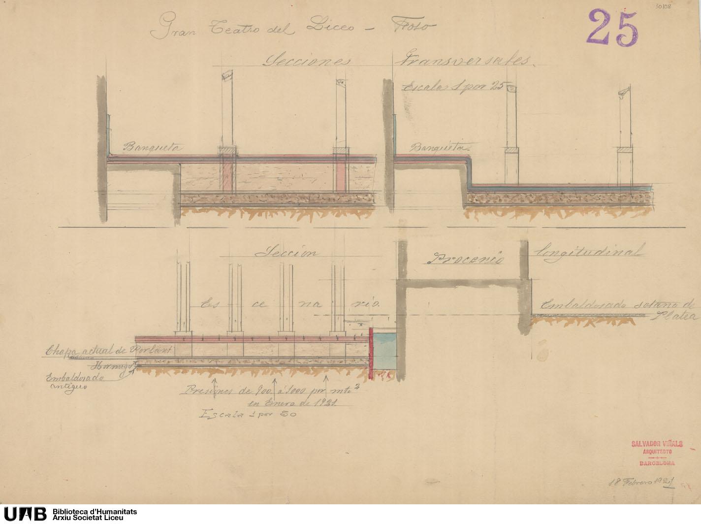 Plano del sótano con estudio de las presiones de agua