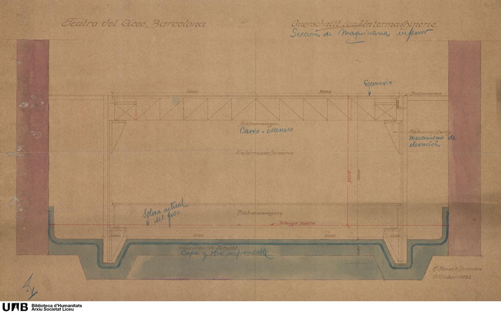 Plànols de maquinària escènica : Secció de maquinària inferior