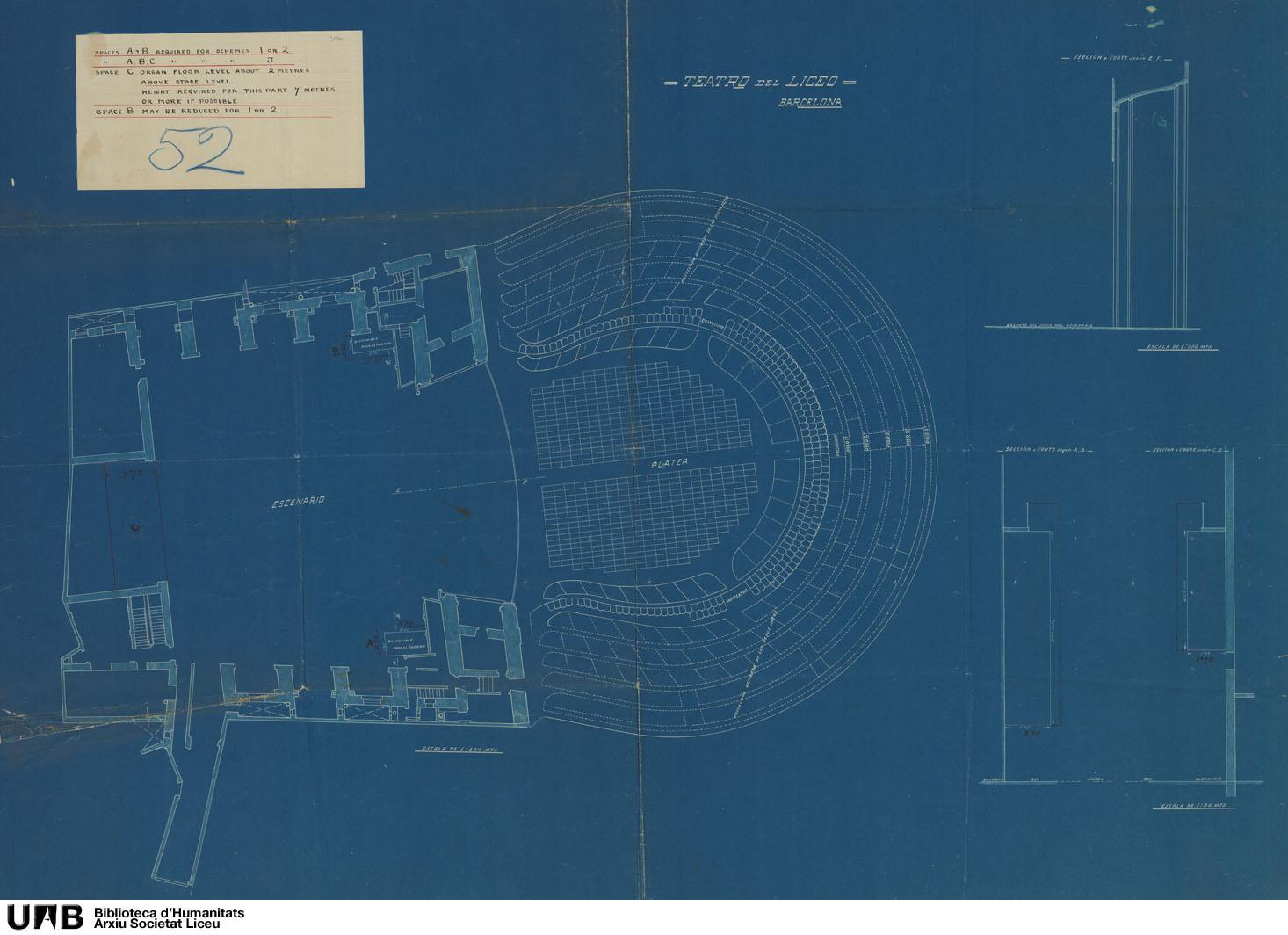 Plano con indicación de las superficies disponibles para el órgano