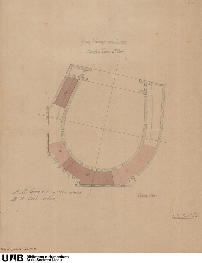 Gran Teatro del Liceo, planta techo quinto piso