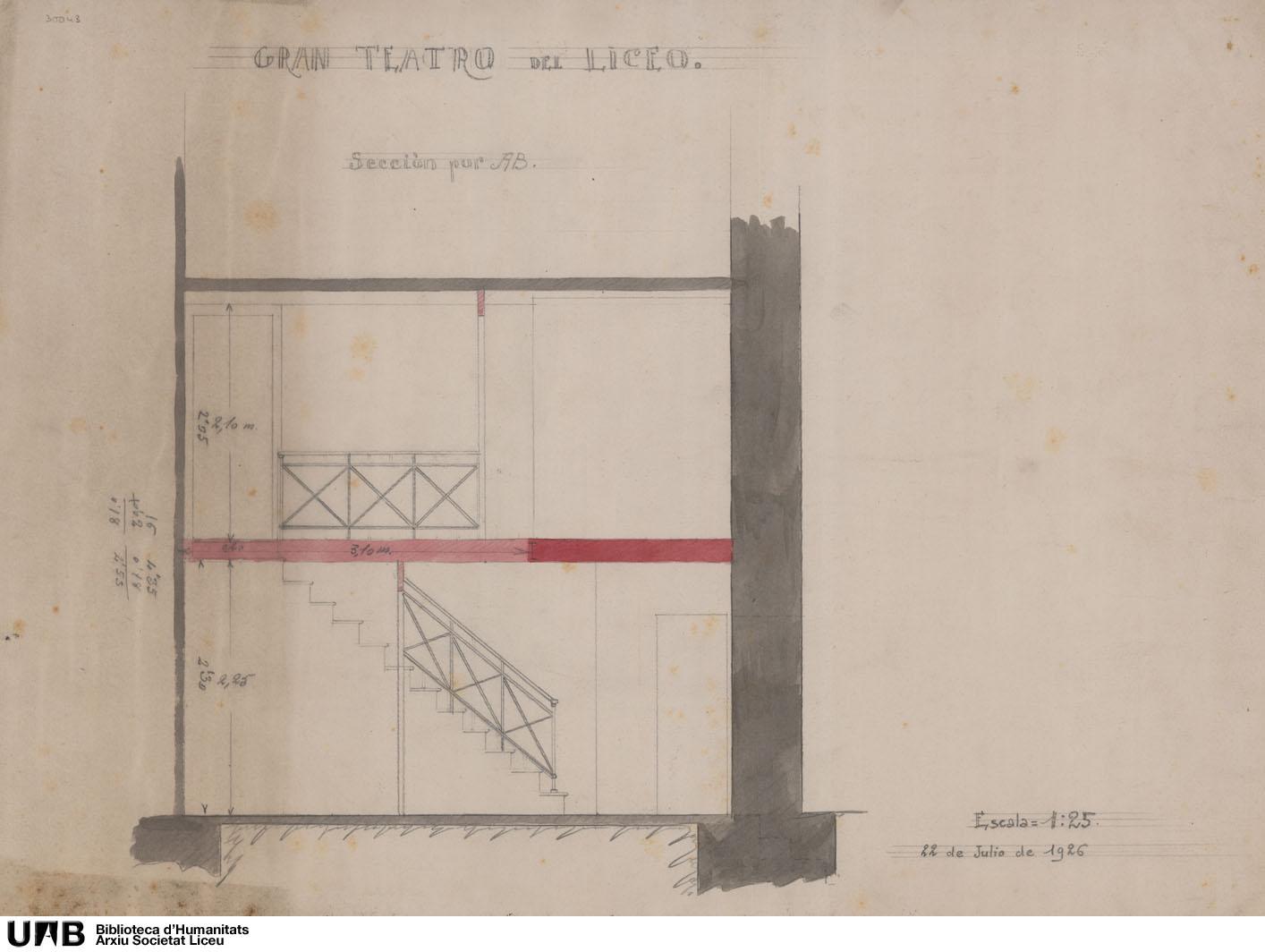 Secció lateral d'unes escales