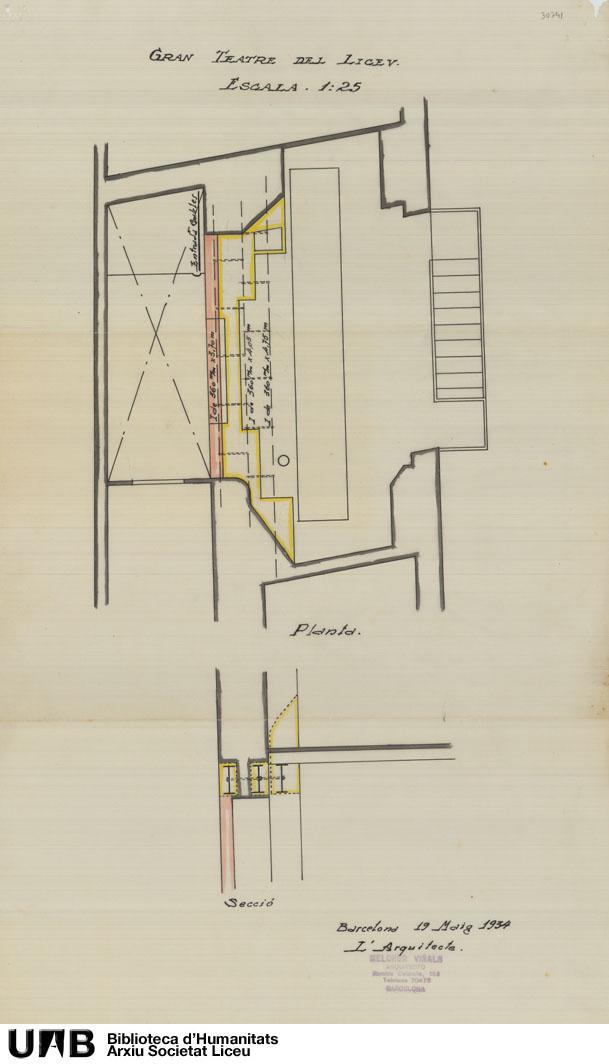Plànol tècnic elèctric de l'arquitecte Melchor Viñals