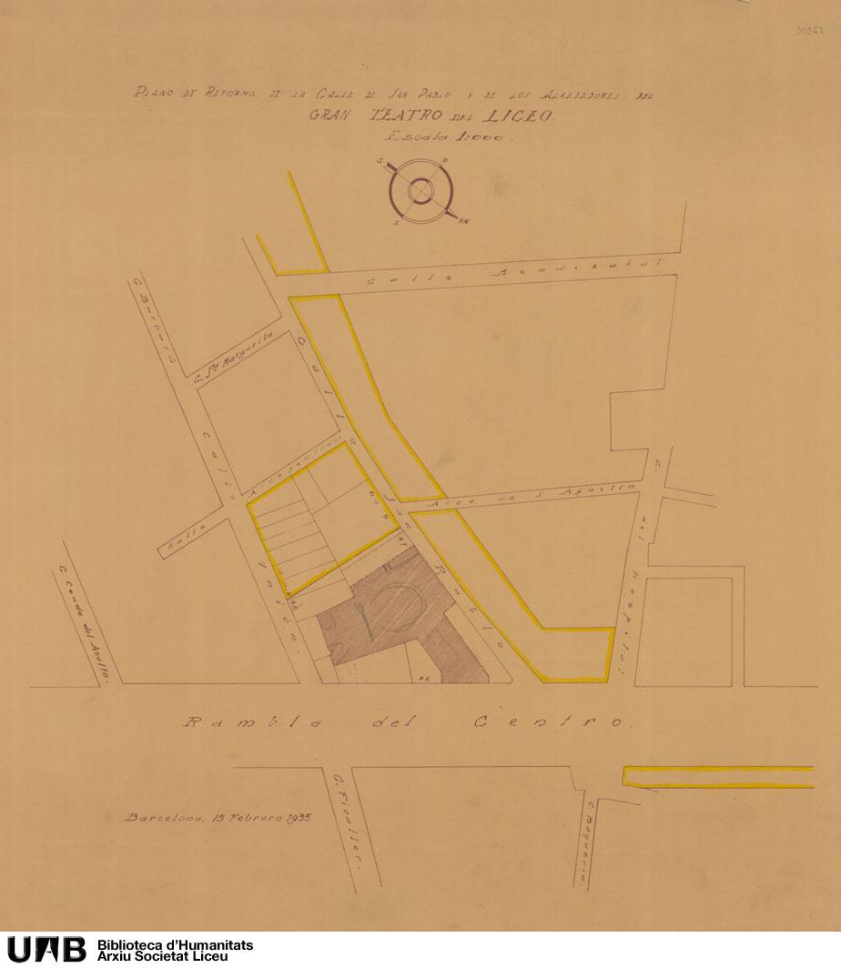 Plano de reforma de la calle de San Pablo y de los alrededores del Gran Teatro del Liceo