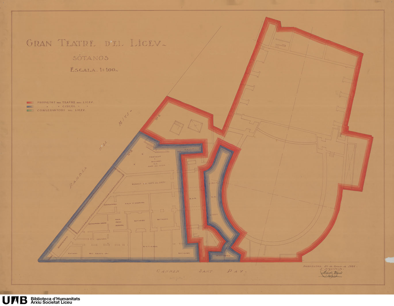 Plano con delimitación de propiedades del Teatro, del Círculo y el Conservatorio