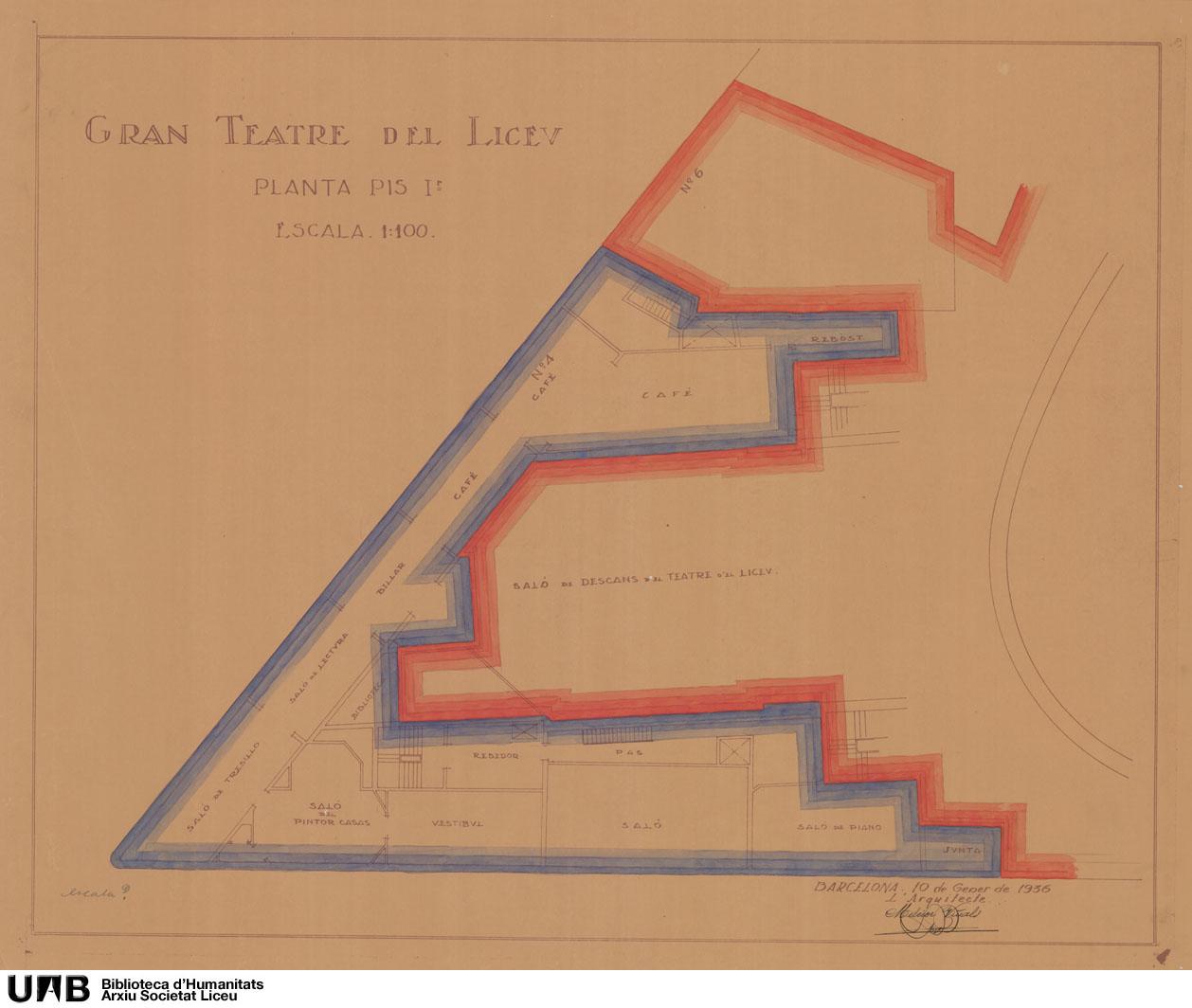 Delimitación de las superficies del Teatro, el Círculo y el Conservatorio : Planta baja, entresuelo, primer, segundo y tercer piso