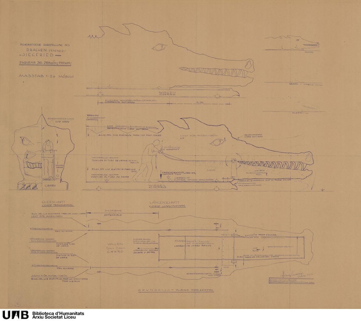 Diseño y esquema de funcionamiento del dragón para Sigfrido