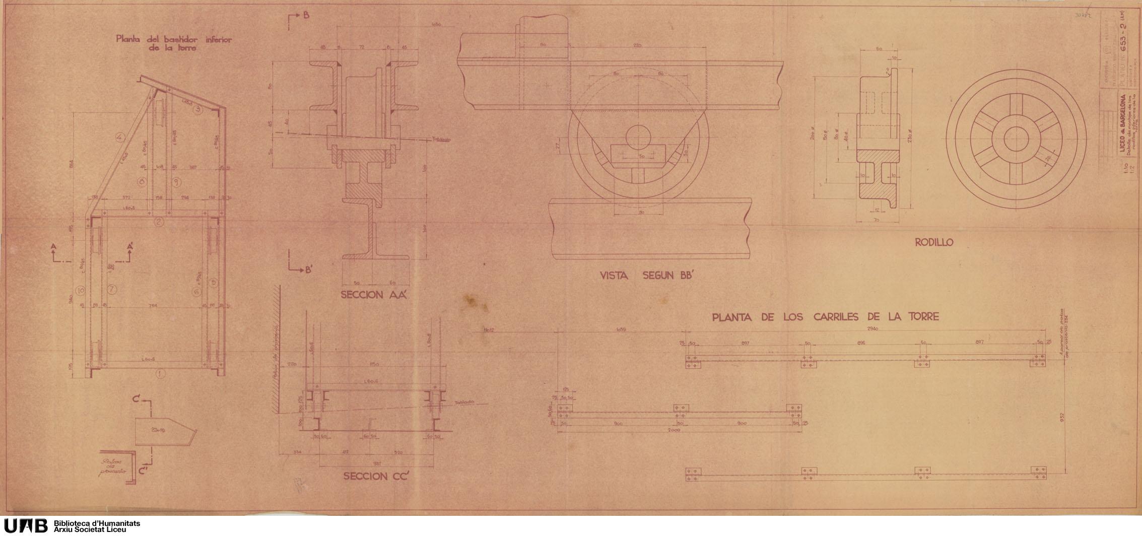 Detalle de montaje de los rodillos inferiores de la torre