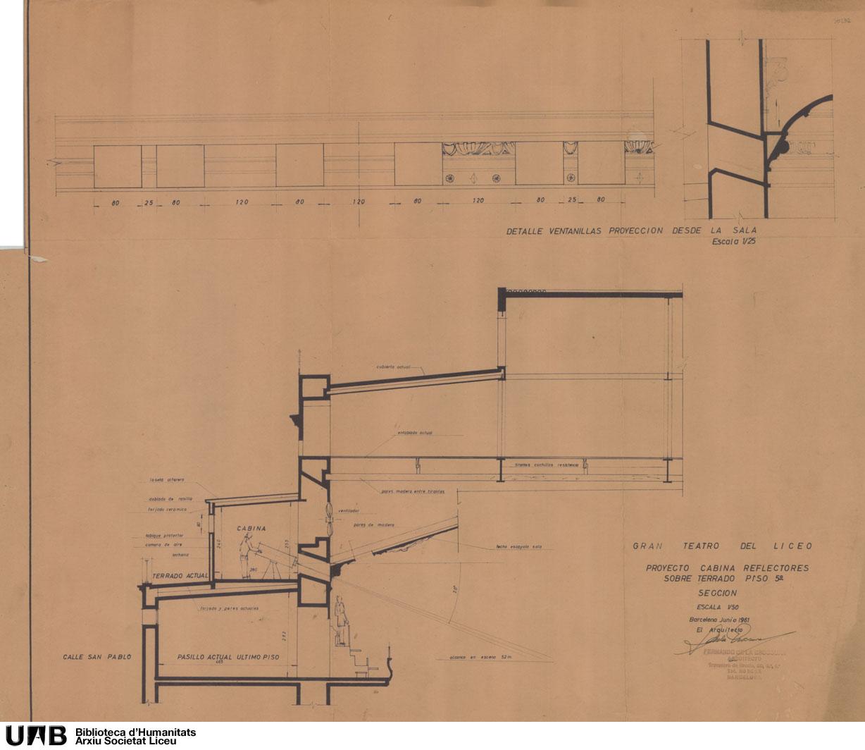 Proyecto cabina reflectores sobre terrado piso 5º