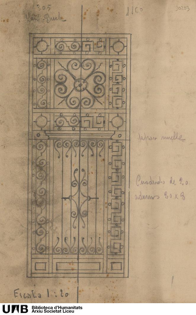 Alzado de puerta, con anotaciones