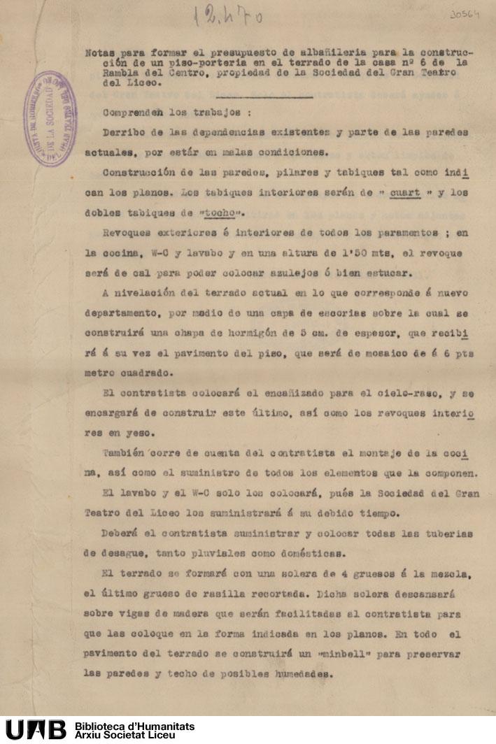 Notas para formar el presupuesto de albañilería para la construcción de un piso portería ...