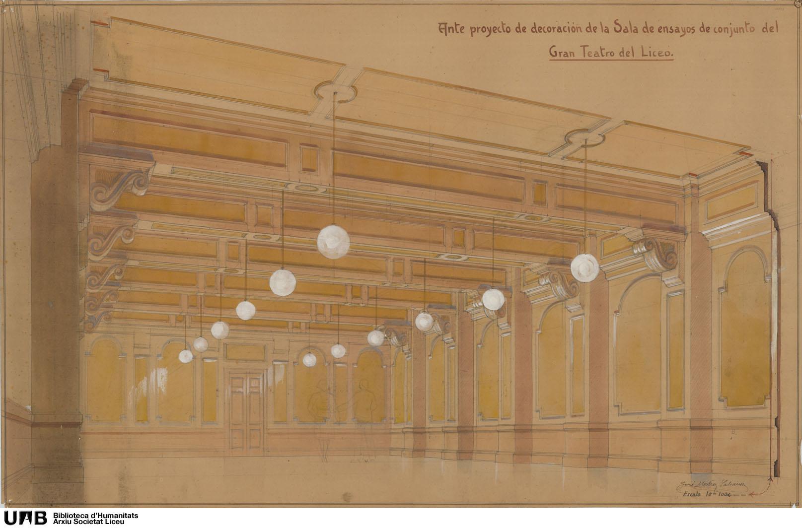 Ante proyecto de decoración de la Sala de ensayos de conjunto del Gran Teatro del Liceo : Perspectiva