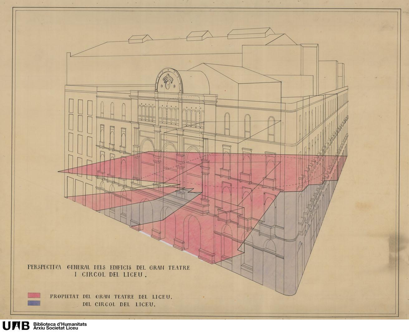 Perspectiva general dels edificis del Gran Teatre i Círcol del Liceu ; Edificis propietat del Círcol del Liceu