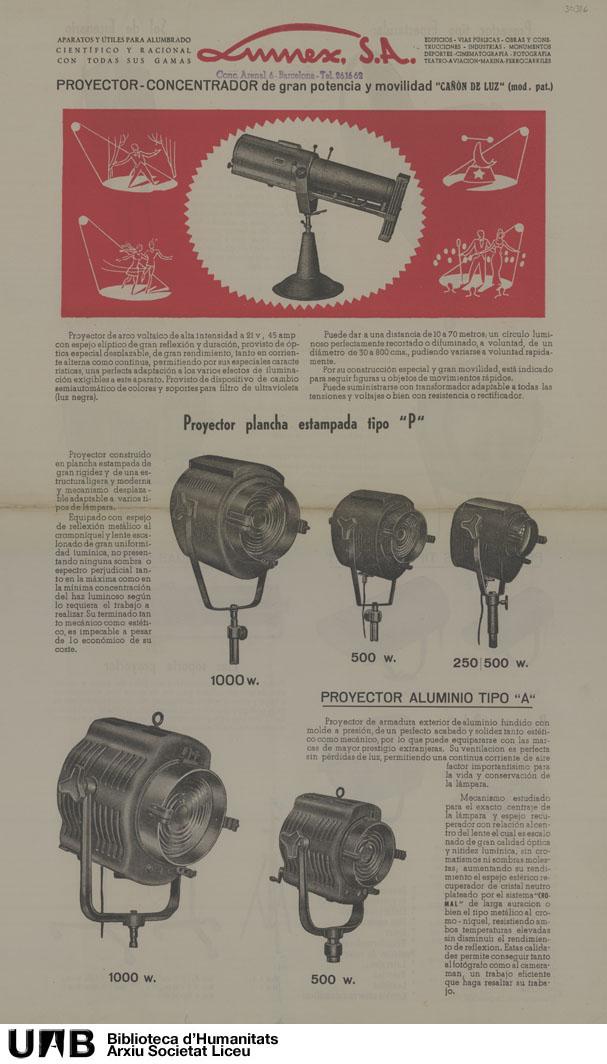 Catálogo de aparatos para iluminación escénica