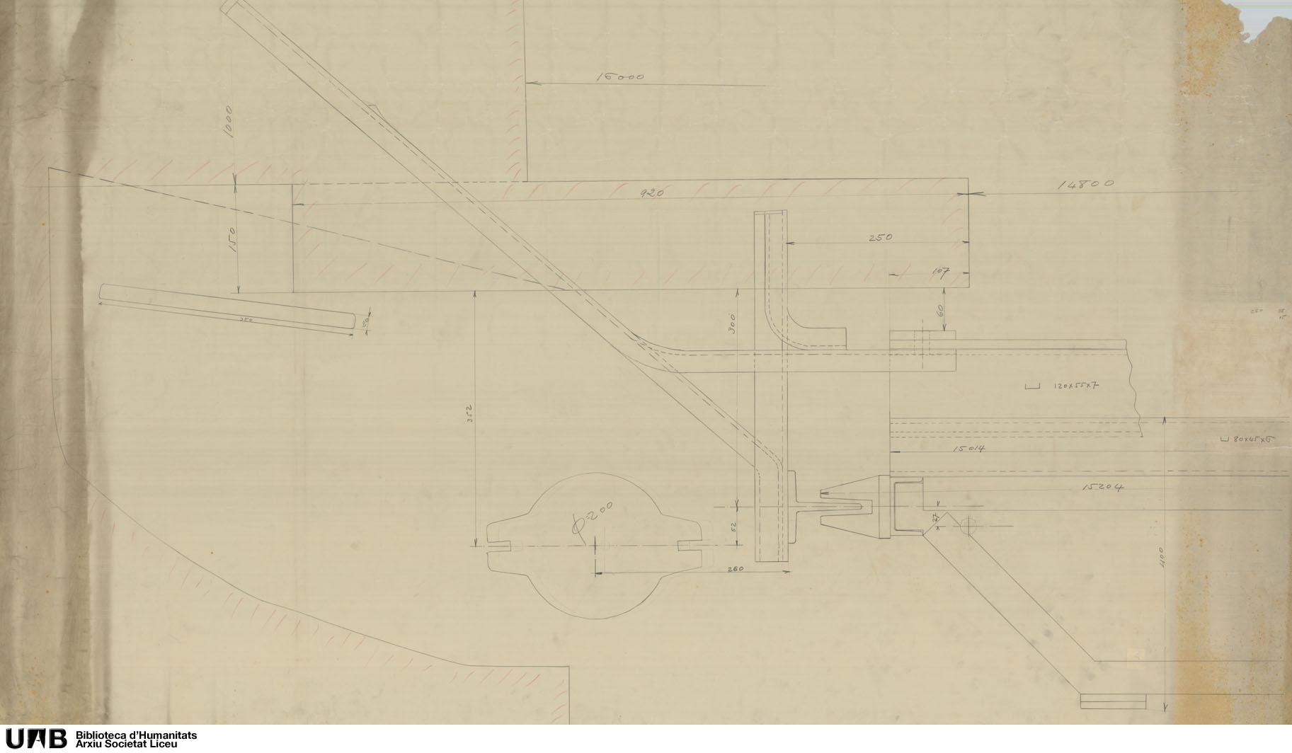 [Detall del mecanisme del teló metàl·lic]