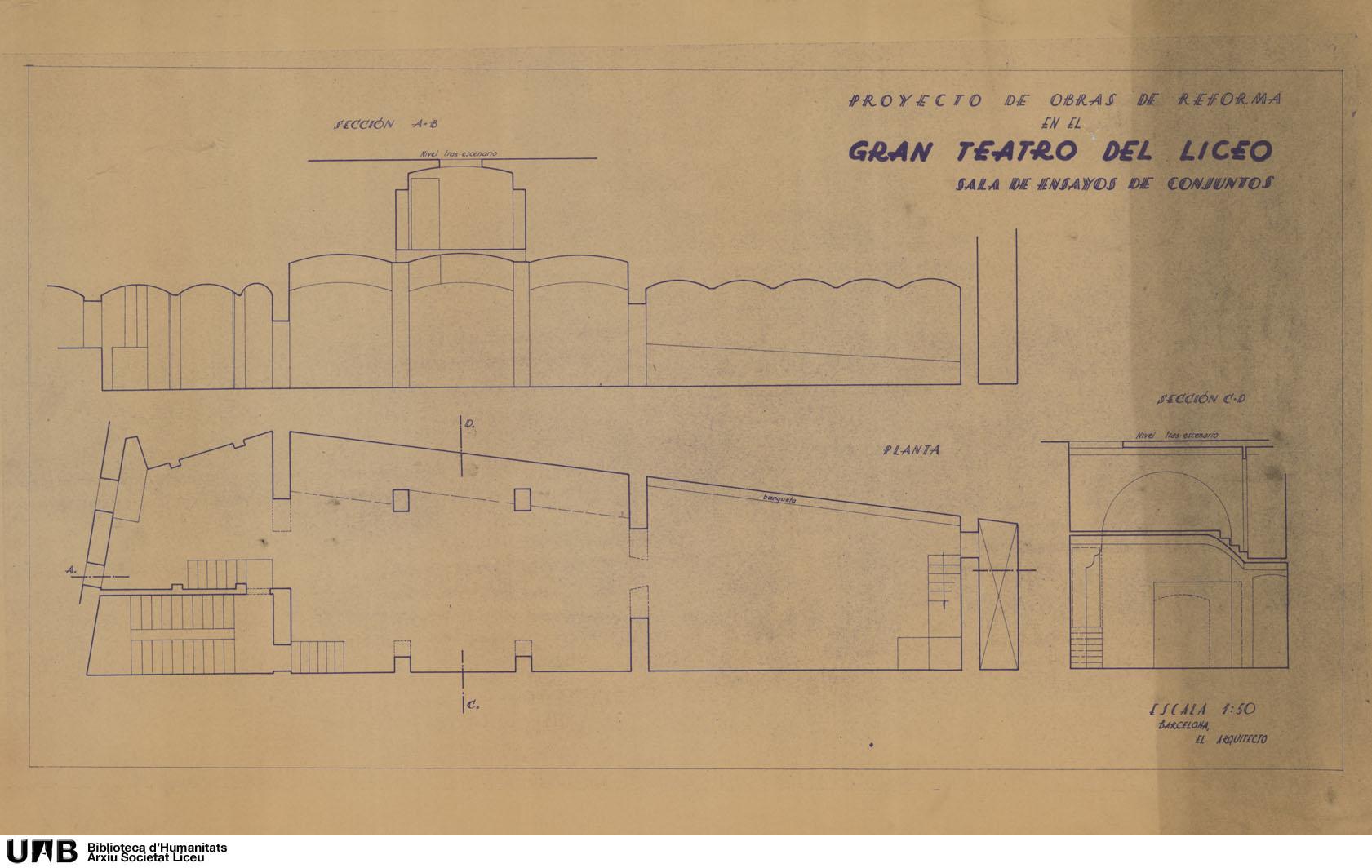 Proyecto de obras de reforma en el Gran Teatro del Liceo : Sala de ensayos de conjuntos