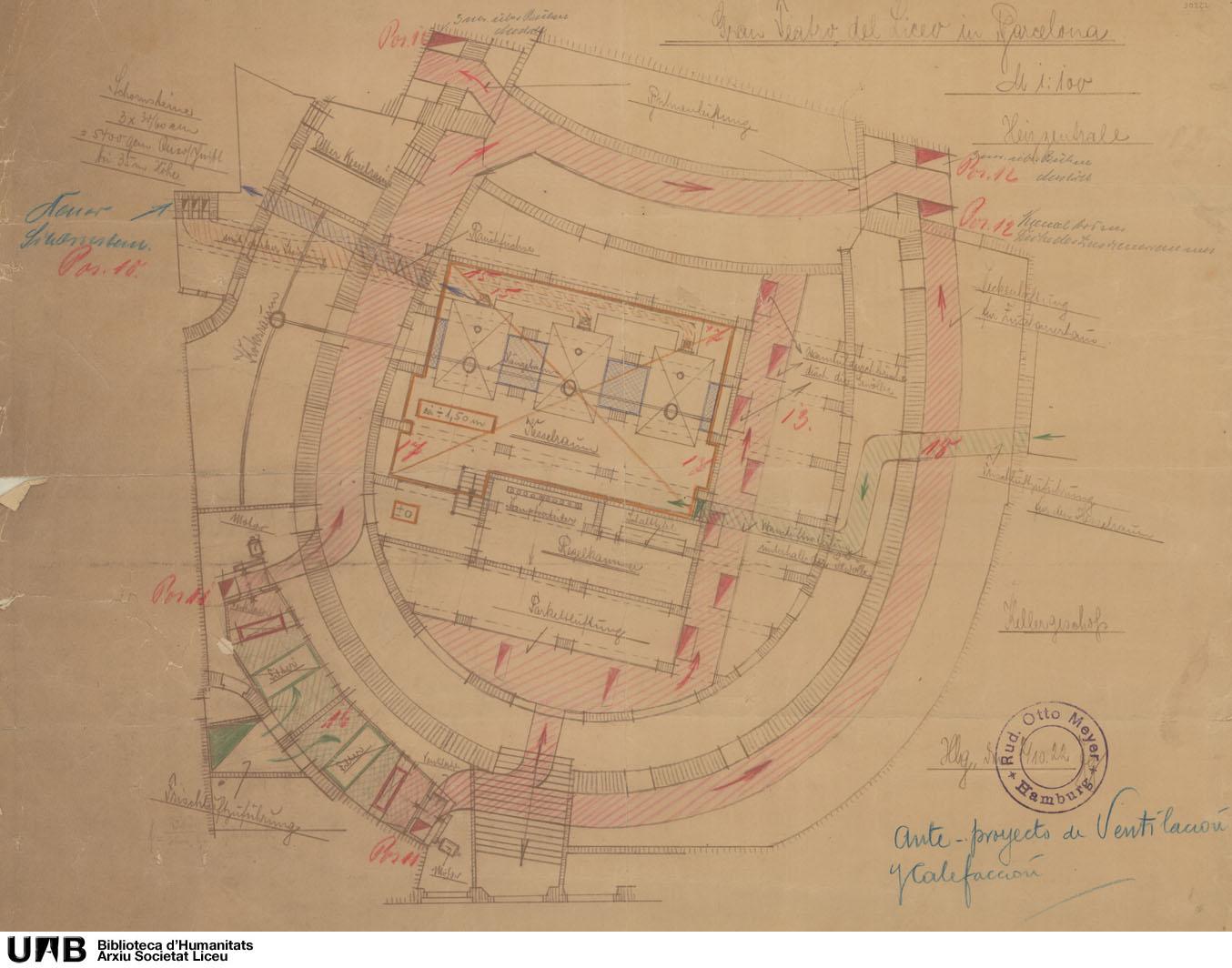 Anteproyecto de calefacción y ventilación : plano del sótano de la platea
