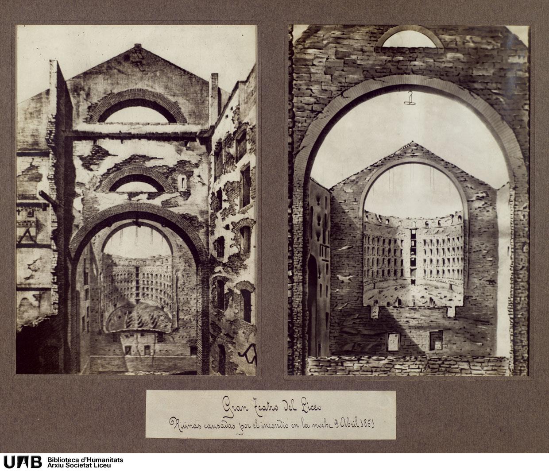 Fotografies de les ruïnes causades per l'incendi de la nit del 9 d'abril de 1861