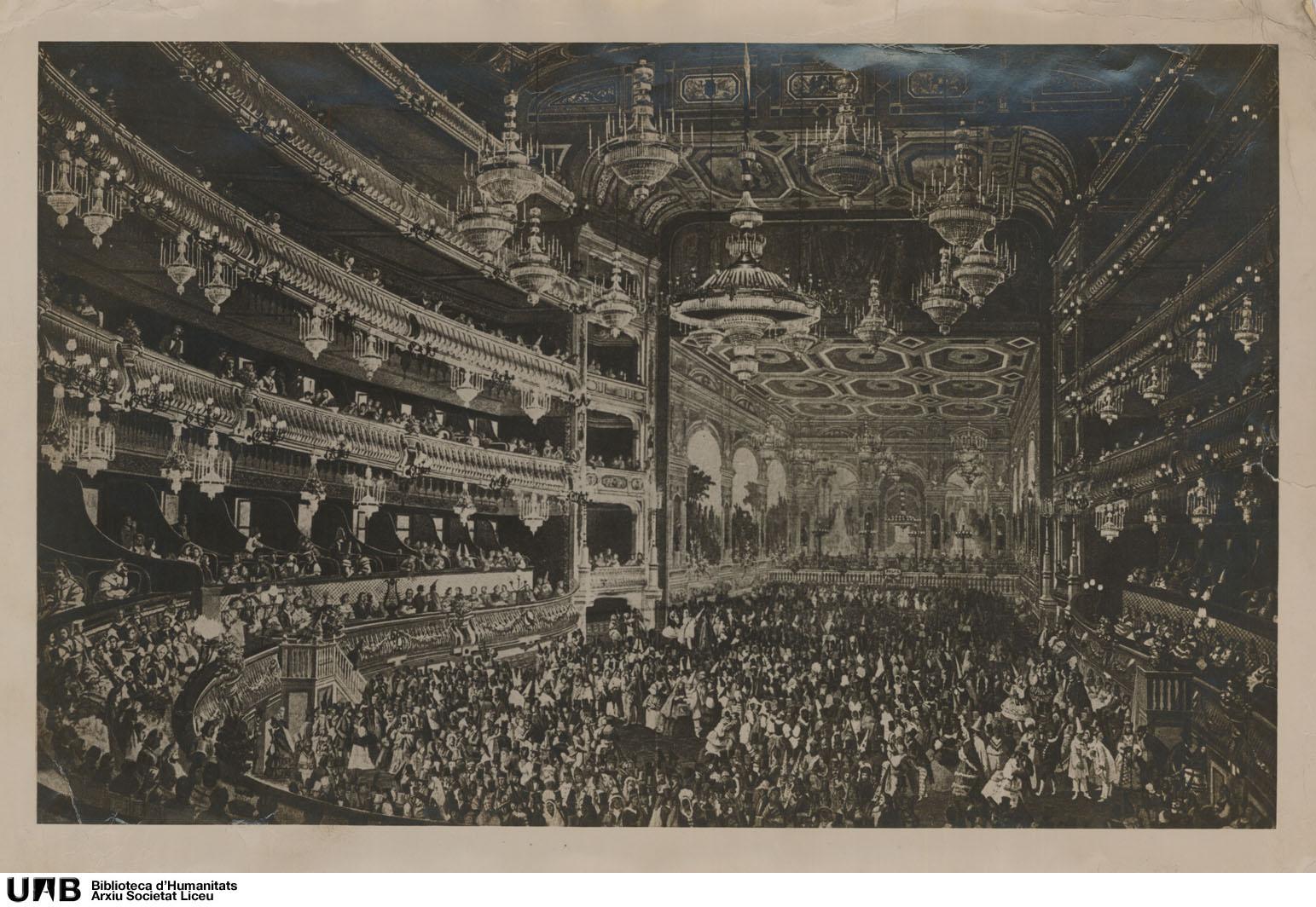 Imatge de la sala del teatre durant un ball de màscares